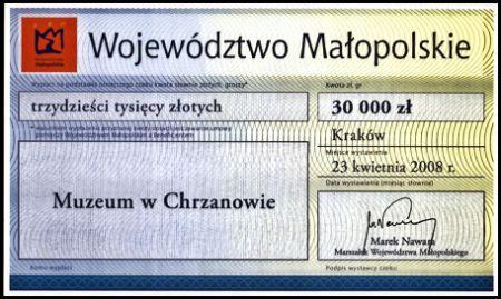 Dotacja Marszałka woj.małopolskiego dla Muzeum wChrzanowie